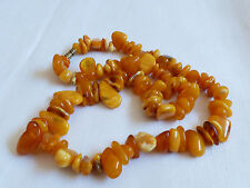 "VTG Baltic Russian natural raw genuine Amber nugget 22"" strand necklace"