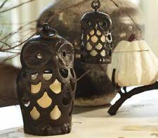 "Pottery Barn Cast Metal Owl Lantern / Luminary / Candle Holder 7"""