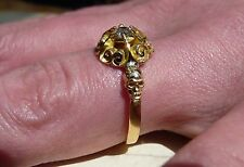 Antique 18ct Gold Memento Mori Mourning Ring Skull Diamond Solitaire Posy Ring