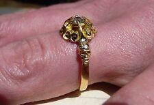 Antiguo Anillo De Oro 18ct Memento Mori luto cráneo diamante solitario anillo Posy