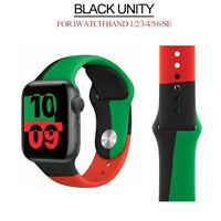 Black Unity Silicone Sports Strap iWatch Band For Apple Watch SE 6 5 4 3 2 1