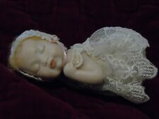 Piano Baby Bisque Porcelain Sleeping Strawberry Blonde with Lace