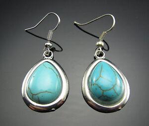 New Silver White GP Encased Genuine Turquoise Teardrop Hook Dangle Drop Earrings