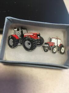 pin badges Red Pair Of Tractors Great Gift