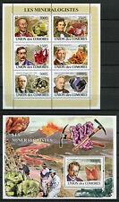 Comoros Comores 2008 MNH Mineralogists Barite 6v M/S 1v S/S Minerals Stamps