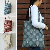 Fashion Eco Shopping Cotton Linen Tote Handbag Canvas Shoulder Bag W Pouch B2W4