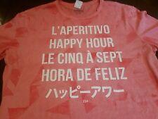 Men's NWT EXPRESS Happy Hour Hora De Feliz Le Cinq A Sept Graphic T-Shirt (XL)