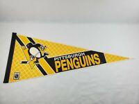 "Vintage Pittsburgh Penguins Full Size Felt Pennant NHL Hockey 30"" 1990's"