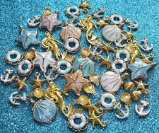 Cute Mini Gold Alloy & Enamel Seaside Shells Mermaid Starfish Charms Jewelery