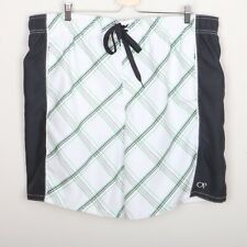 b45332403d OP Ocean Pacific Swimsuit Board Shorts Men 2XL Black White Green Gray Plaid