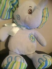 """Cuddles Collection Blue green striped elephant 10"""" Soft Plush Toy Card Factory"""