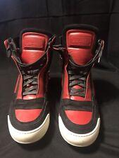Balmain Mens High tops VINTAGE RED/BLACK sz 42 Sneakers with zipper W5HT314BA82