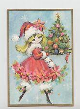 Unused, Sweet Mod Lady In Santa Hat & Tree,  Vintage Christmas Greeting Card!
