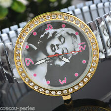 NEW Marilyn Monroe Stretchy Steel Belt Rhinestone Women Leisure Wrist Watch PS