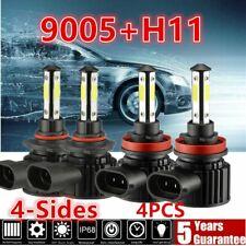 4-sides 9005+H11 LED Headlight Combo Kit White Light Bulb 12000lm Hi Low Beam