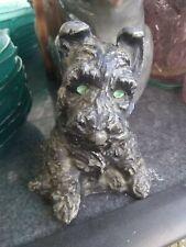 """Vintage Spelter Scottie Dog PuppyScottish Terrier Sitting Dog 5"""" Tall"""