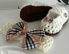 0-3 Months Hand Knitted Cream and Brown Shoes/Booties and Hairband/Headband