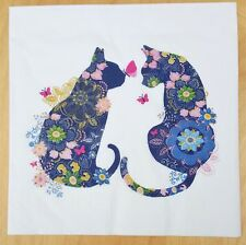 4 x Paper Table Napkins/Decoupage/Craft/Dining Blue Floral Cats