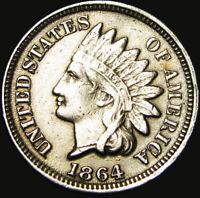 """1864 Copper Nickel Indian Cent ---- Nice Details """"Die Scratch Error?"""" ---- #X597"""