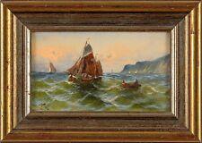 Bild Öl signiert Segelschiff Holland Landschaft Schiff Gemälde