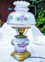 """Vintage Gone With The Wind Hurricane Parlor Lamp Artist Signed Purple Roses 20"""""""