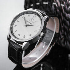 Mercede Bens Mens Watch Stainless Steel Black Leather Strap Watch- White Face