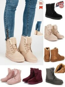 WOMENS-LADIES FAUX FUR, SUEDE WINTER SNOW WARM ANKLE BOOTS, TRAINERS UK STOCK*