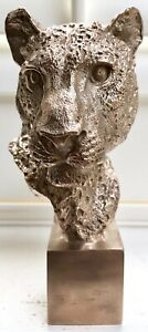 Leopard Head Ltd edition in solid bronze hotcast sculpture Uk artist Uk Foundry