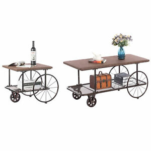 New Industrial Wagon Style Coffee Table Rustic End Table Magazine Holder