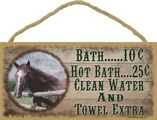 Western Horse Bath Water Towel Extra 5 x 10 Wood SIGN Plaque