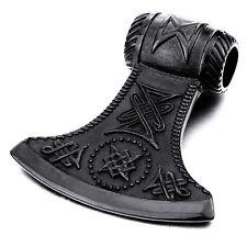 MENDINO Large Men's Stainless Steel Pendant Necklace Axe Viking Chain Black Tone