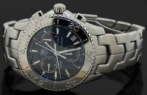 TAG Heuer Link CJ1112 SS chronograph quartz men's watch w/ date Blue dial & box