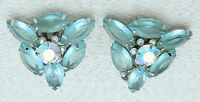 Vintage JULIANA D&E Silver Toned Blue Rhinestone AB Clip Earrings