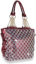 Womens Rhinestone  Bling Fashion Handbag Tote(burgandy)