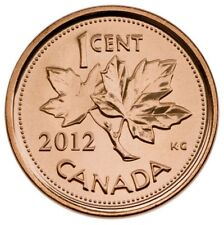 2012 1 cent BU coin non-magnetic from RCM roll Canada - Last year of the penny!