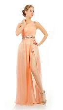 HBH Abendkleid mit Perlen veredelt,gerafft,Reißverschluss, Farbe:Lachs, Gr.34-44