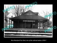 OLD LARGE HISTORIC PHOTO OF WEST WATERFORD NEW YORK, THE RAILROAD STATION 1920 2