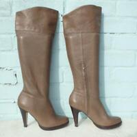 Topshop Leather Boots Size Uk 6 Eur 39 Sexy Womens Pull on Platform Brown Boots