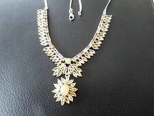 Opal Citrin Turmalin Collier aus 925 Sterlingsilber 585 Weißgold vergoldet Kette