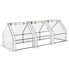 3 SECTION WEATHER RESISTANT GROW TUNNEL GREENHOUSE GARDEN WITH WHITE PE COVER