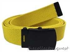 "NEW YELLOW ADJUSTABLE 62"" INCH CANVAS MILITARY WEB BELT BLACK BUCKLE MEN WOMEN"