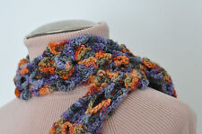 Handmade Rainbow varigated wool sparkle yarn unique pattern scarf