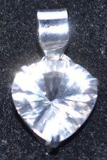 argento sterling 925 ciondolo solitario cuore bianco quarzo ROCK GEMMA GIOIELLI