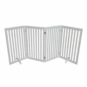 Four Panel Freestanding Pet Dog Cat Baby Safety Gate, Secured Stairways barrier