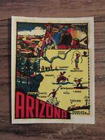 Vintage ARIZONA State Map AZ Travel Souvenir Luggage Window Decal COOL !