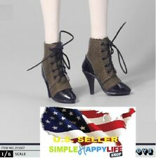 1/6 scale women shoes short brown boots lace up for phicen kumik ❶US Seller❶