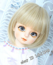 "8-9"" 1/3 BJD Wig Blonde Short Hair Dal  Pullip LUTS DOD Dollfie Doll Wig"