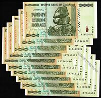 10 x 20 Billion Zimbabwe Dollars Bank Notes AA Prefix 2008 Series Currency 10PCS