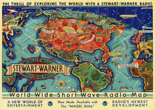 Early World Wide Short Wave Radio Map Hams Gift Amateur Enthusiasts Wall Poster