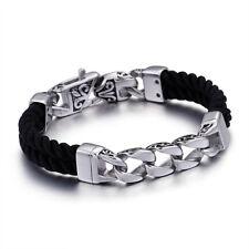 Vintage Genuine Leather Bracelet Stainless Steel Wristband Handmade 12mm 8.66''